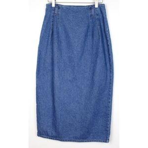 Vintage Hunt Club High Waist Midi Denim Skirt